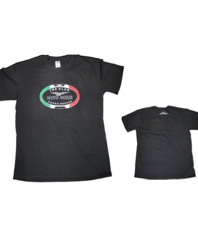 "Moto Guzzi t-shirt 100% cotton. Moto Guzzi ""the clan"" front print and Moto Guzzi print on the back."